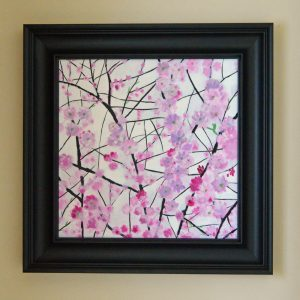 Cherry Blossom 1 Acrylic 50cm50cm Complete feame domensions 68cm 68cm £560