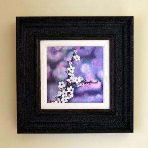 Cherry Blossom acrylic mixed media print frame size 38cm x 38cm £125