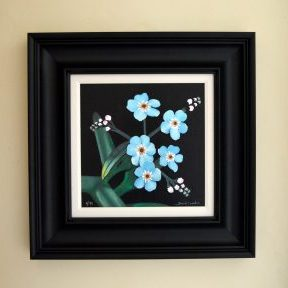 Forget Me Nots mixed media print size fo frame 52cm x 52cm £185
