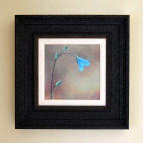 Spanish Blue Bell acrylic mixde media print frame size 38cm x 38cm £125